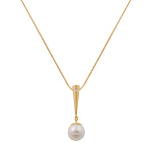Colier placat cu aur decorat cu perla alba si zirconiu alb