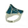 Inel din argint cu pietre din pasta de turcoaz albastra