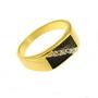 Inel ghiul placat cu aur decorat cu email negru si zirconiu alb