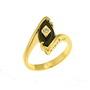 Inel placat cu aur decorat cu piatra imitatie de onix negru si zirconiu cubic alb