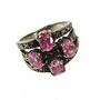Inel din argint decorat cu marcasite si zirconiu roz
