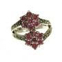 Inel din argint cu flori decorate cu zirconiu roz si marcasite