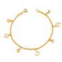 Bratara placata cu aur cu bilute si perle de culoarea sampaniei in colivie