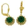 Cercei placati cu aur cu pietre zirconiu verde si alb