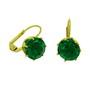 Cercei placati cu aur cu piatra zirconiu verde