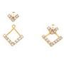 Cercei compusi din doua parti placati cu aur cu pietre zirconiu alb si perle de culoare alba