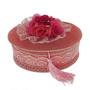Caseta pentru bijuterii cu catifea roz si buchet de trandfiri cu o piatra zirconiu alb