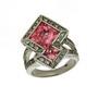 Inel din argint cu pietre zirconiu albe si roz