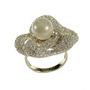Inel din argint cu pietre swarovski si perla