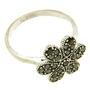 Inel din argint model floare cu marcasite