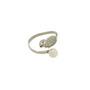 Inel reglabil din argint rodiat cu pietre zirconiu alb si perla de cultura alba