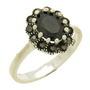 Inel din argint cu piatra zirconiu neagra imitatie onix si marcasite