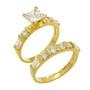 Inel format din doua inele placat cu aur cu pietre zirconiu alb