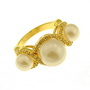 Inel placat cu aur cu zirconiu si perle