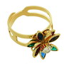Inel reglabil floare placat cu aur cu pietre multicolore si o piatra zirconiu alb in mijloc