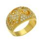 Inel placat cu aur cu pietre albe si model filigran