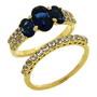 Set de doua inele placate cu aur cu pietre zirconiu alb si albastru imitatie safir