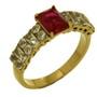 Inele placate cu aur cu pietre zirconiu rosu imitatie rubin si alb