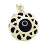 Pandantiv din argint cu semnul ochi de deochi cu material sintetic albastru inchis si email negru si alb