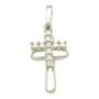Pandantiv cruciulita din argint rodiat format din doua cruciulite unul fiind batut cu pietre zirconiu alb