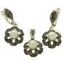 Set din argint cu perle albe de cultura si marcasite
