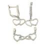 Set din argint rodiat cu 2 inimi cu pietre zirconiu alb