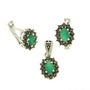 Set din argint cu pietre zirconiu verde imitatie smarald si marcasite