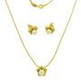 Set placat cu aur model floare cu perle albe