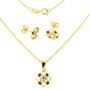 Set model floare placat cu aur cu pietre zirconiu alb si mov imitatie ametist