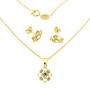 Set model floare placat cu aur cu pietre zirconiu alb